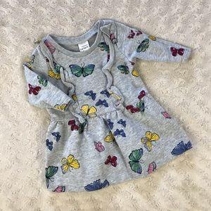 Carter's Butterfly Dress Gray Ruffles Blue 3 Month